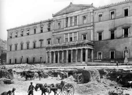 Εργασίες εκχωμάτωσης για τη διαμόρφωση του μνημείου, 1929 (Συλλογή Π. Πουλίδη-Αρχείο ΕΡΤ)