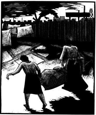 Χαρακτικό του Ότο Νίκελ, από το λεύκωμα «Πεπρωμένο» (1932).