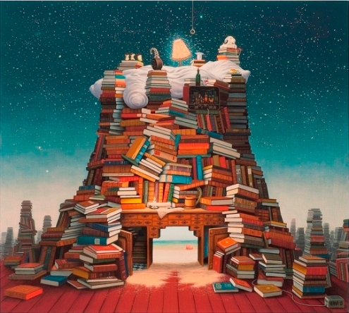 "Jacek Yerka ""Night reading"""