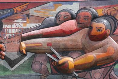 """The People to the University, the University to the People"" Τοιχογραφία του David Alfaro Siqueiros στο Πανεπιστήμιο της πόλης του Μεξικό (Λεπτομέρεια)"