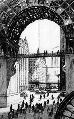 Εικονογράφηση του François Schuiten για το έργο του Ιουλίου Βερν «Το Παρίσι τον 20ό αιώνα»