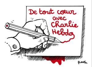 """«Ολόψυχα με το """"Charlie Hebdo""""».  Σκίτσο του Plantu"""