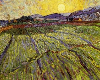 Vincent van Gogh -Enclosed field with rising sun, 1889