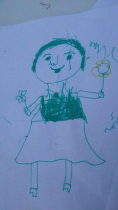 """Παιδική ζωγραφιά από τη δράση-συνάντηση """"Το καλό θα 'ρθει από τη θάλασσα"""". Φωτογραφία της Ελένης Τζιρτζιλάκη"""