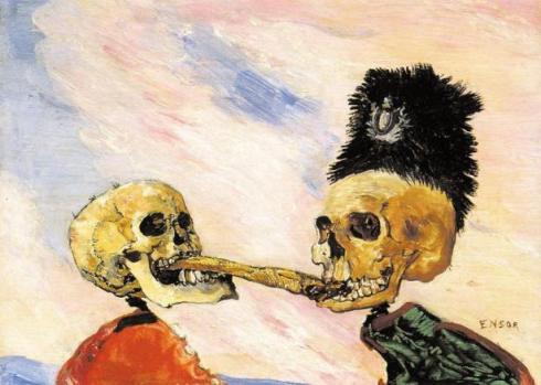 Τζαίημς Ένσορ, «Δυο σκελετοί παλεύουν για μια ρέγκα τουρσί», 1891
