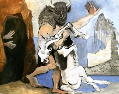 Πάμπλo Πικάσο, «Ο Μινώταυρος με μια νεκρή κατσίκα στο άνοιγμα μια σπηλιάς», 1936