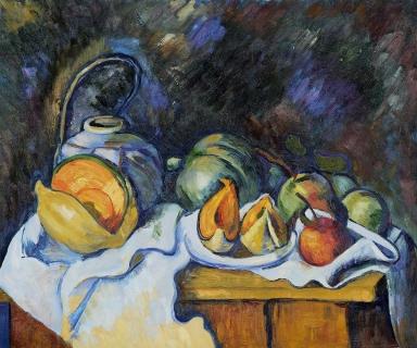 Πωλ Σεζάν, «Νέκρή φύση με πεπόνια και μήλα»,