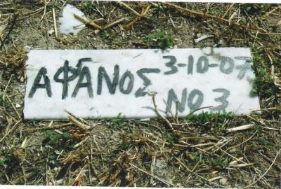 Μυτιλήνη. Τάφος άγνωστου μετανάστη, με τη φράση «Αφανός», που  στη συνέχεια κάποιος, προσθέτοντας ένα γάμα, διόρθωσε σε «ΑφΓανός». Φωτογραφία του Μπάμπη Στυλιανίδη, 2007 (δημοσιεύττηκε στο άρθρο του Αριστείδη Καλάργαλη «Στις γειτονιές του κόσμου», «Ενθέματα», 20.3.2011)