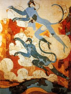 Οι κυανοπίθηκοι. Τοιχογραφία από το Ακρωτήρι της προϊστορικής Θήρας
