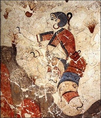 Οι κροκοσυλλέκτριες. Τοιχογραφία από το Ακρωτήρι της προϊστορικής Θήρας