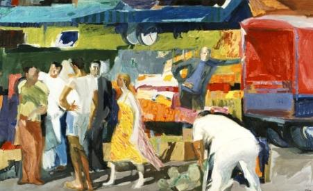 Παναγιώτης Τέτσης, «Στη Λαϊκή Αγορά», 1977