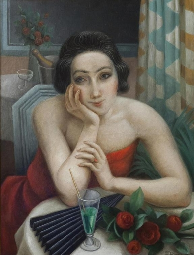 Jean Metzinger - Σκεπτική νέα γυναίκα με κόκκινα τριαντάφυλλα (1923)