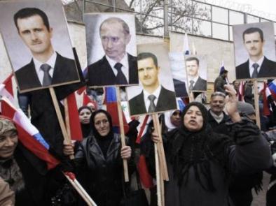 Διαδήλωση υποστήριξης στον Πούτιν, Δαμασκός, 2012 (πηγή: Corriere della Sere/AP)