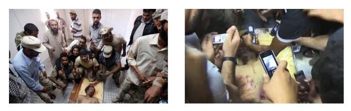 Άνδρες τραβούν αναμνηστικές φωτογραφίες με το πτώμα του Καντάφι.