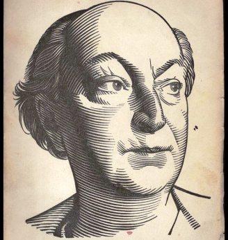 Άγγελος Σικελιανός. Ξυλογραφία του Κώστα Γραμματόπουλου, από το αφιέρωμα της «Νέας Εστίας» (Χριστούγεννα 1952)