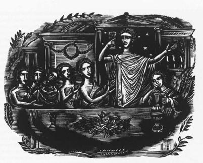 Ξυλογραφία του Σπύρου Βασιλείου για το ποίημα «Ελλληνικός νεκρόδειπνος» του Άγγελου Σικελιανού, από την έκδοση των «Ακριτικών» του ποιητή (Αθήνα 1943).