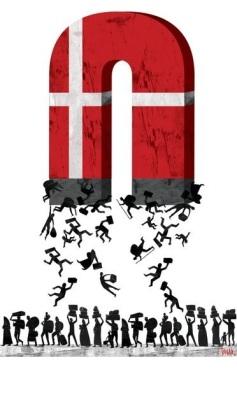 «Πρόσφυγες στη Δανία». Σκίτσο του Vasco Gargalo (πηγή: www.cartoonmovement.com)