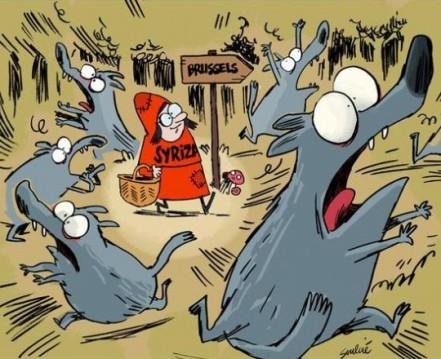 Η «Συριζοσκουφίτσα» πάει στις Βρυξέλλες. Σκίτσο του Thibaut Soulcié, 26.1.2015