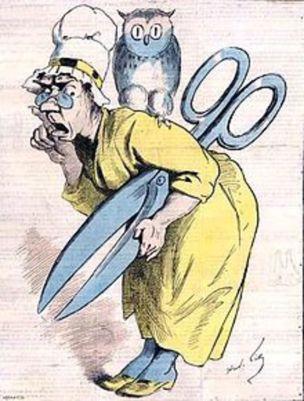 Η Μαντάμ Αναστασί, του Αντρέ Γκιγ. Γελοιογραφία για την  λογοκρισία