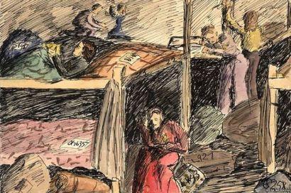 Σκίτσο της τότε 14χρονης Helga Weissova, επιζήσασας του Ολοκαυτώματος. Κοιτώνας κοριτσιών