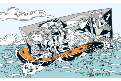 Σκίτσο του Γιάννη Καλαϊτζή. Πήγή www.efsyn.gr
