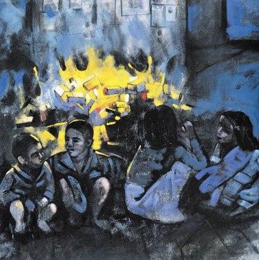 Έργο του Κυριάκου Κατζουράκη, από την ενότητα «Ο δρόμος προς τη Δύση»