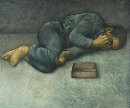 Αγόρι που κοιμάται. Πίνακας του Σύριου ζωγράφου Louay Kayyali