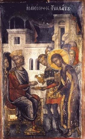 Θεοφάνης ο Κρης, «Η Απόνιψη του Πιλάτου» (ΙΜ Αγίου Νικολάου, Μετέωρα)
