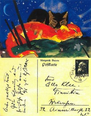«Δυο γάτες». Κάρτα του Φραντς Μαρκ, που έστειλε ο καλλιτέχνης στη Λίλυ Κλέε, στο Μόναχο, 6.3.1913