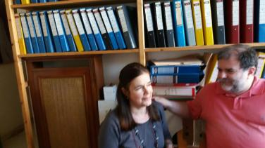 1.Η Πόπη Πολέμη και ο Στρατής Μπουρνάζος στο Βιβλιολογικό Εργαστήρι «Φίλιππος Ηλιού», 25.4.2016