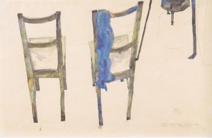 Ένα από τα σχέδια που έκανε ο Έγκον Σίλε προφυλακισμένος επί ανηθικότητι τον Απρίλιο του 1912, στο Νόιλενγκμπαχ. Εικονίζονται οι καρέκλες στο κελί του και κάτω δεξιά σημειώνεται η φράση «η τέχνη δεν μπορεί να είναι μοντέρνα• η τέχνη είναι εξαρχής αιώνια»
