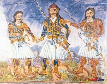 «Οι τρεις καπεταναίοι συμφιλιωθέντες» (Μάρκος Μπότσαρης, Οδυσσέας Ανδρούτσος και Αθανάσιος Διάκος). Έργο του Θεόφιλου