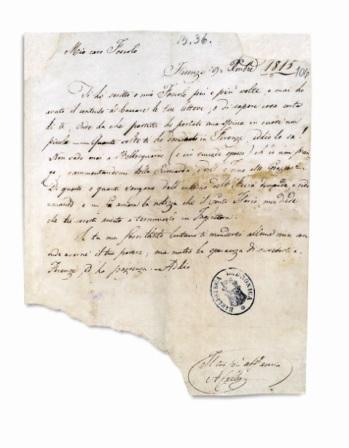 Επιστολή του Ανδρέα Κάλβου στον Ούγκο Φόσκολο (επ. αρ. 15, 9 Δεκεμβρίου 1815). Biblioteca Labronica, Carte Foscolo